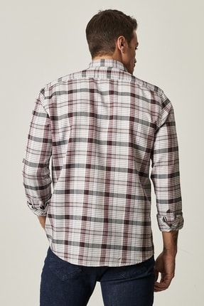 Altınyıldız Classics Erkek Antrasit-Bordo Tailored Slim Fit Düğmeli Yaka Kareli Gömlek 2