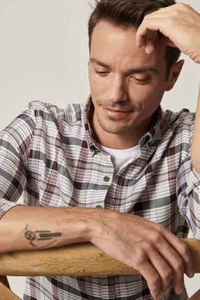 Altınyıldız Classics Erkek Antrasit-Bordo Tailored Slim Fit Düğmeli Yaka Kareli Gömlek 3