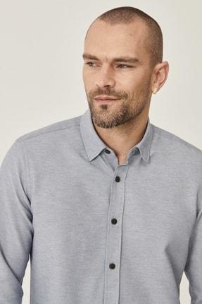 Altınyıldız Classics Erkek Gri Tailored Slim Fit Dar Kesim Düğmeli Yaka Oxford Gömlek 3