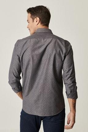 Altınyıldız Classics Erkek Antrasit Tailored Slim Fit Düğmeli Yaka Baskılı Gömlek 2