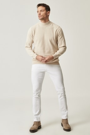 Altınyıldız Classics Erkek Beyaz 360 Derece Her Yöne Esneyen Rahat Slim Fit Pantolon 1