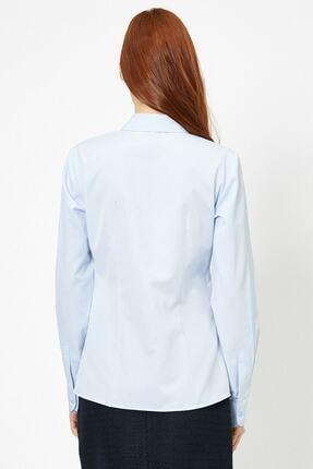Koton Kadın Mavi Klasik Yaka Gömlek 3