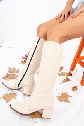 Fox Shoes Bej Kadın Çizme A654252709 0