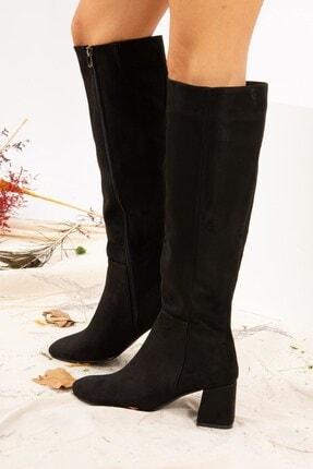 Fox Shoes Siyah Süet Kadın Çizme J518023002 0