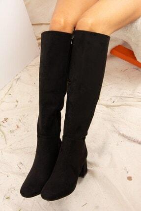 Fox Shoes Siyah Süet Kadın Çizme J518023002 1