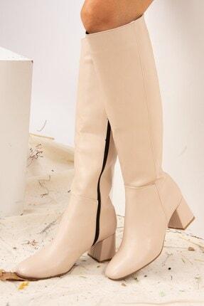 Fox Shoes Ten Suni Deri Kadın Çizme J518023009 1