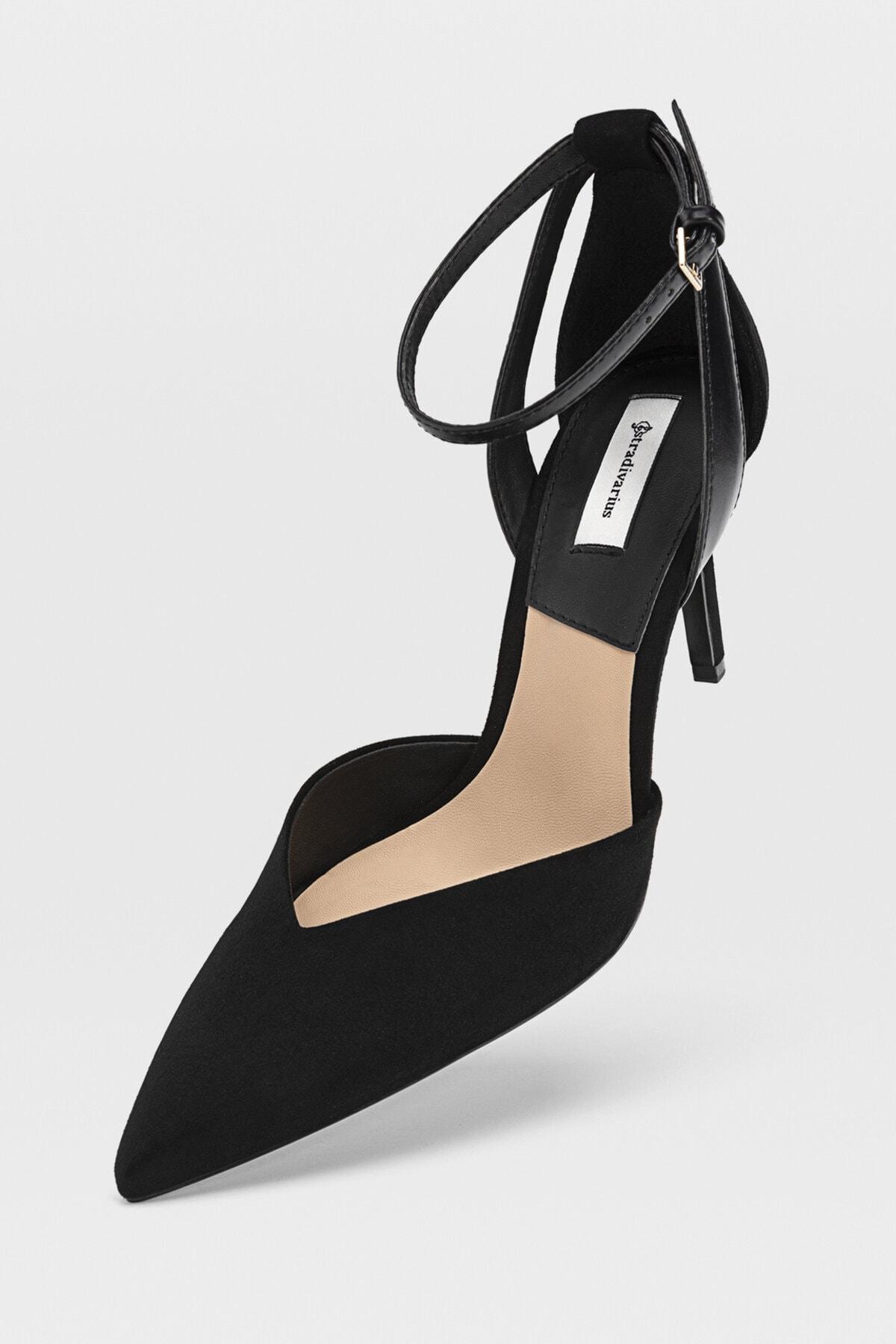 Stradivarius Kadın Siyah Bilekten Bantlı Yüksek Topuklu Ayakkabı 19153770 3