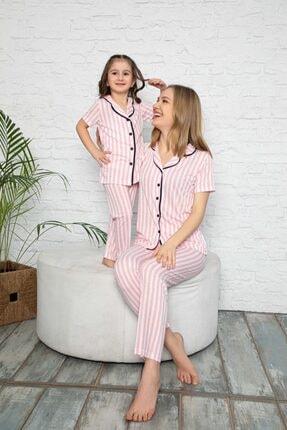 modalizy Anne Kız Pembe Çizgili Desen Pijama Kombinleri 0