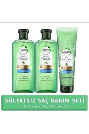 Herbal Essences Sülfatsız Aloe Bambu Şampuan 380 ml 2 Adet + Saç Kremi 275 ml 1