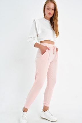 Trend Alaçatı Stili Kadın Açık Pembe Paçası Lastikli İki İplik Eşofman Altı ALC-Y2933 1