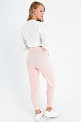 Trend Alaçatı Stili Kadın Açık Pembe Paçası Lastikli İki İplik Eşofman Altı ALC-Y2933 2