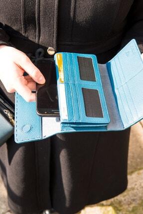 İZEV Kadın  Garbalia Paris Hakiki Deri Saraç Dikişli Telefon Bölmeli Petrol Mavisi Portföy Cüzdanı 3