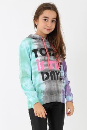 Enisena Kız Çocuk Mint Batik Yıkamalı Kapüşonlu Sweatshirt 9-14 Yaş 1