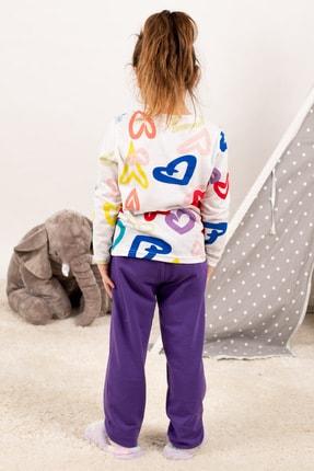 armonika Kadın Mor Anne Kız Model Kalp Desenli Pijama Takımı ARM-21K001114 3