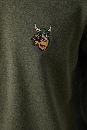 Koton Erkek Yeşil Bisiklet Yaka Islemeli Uzun Kollu Sweatshirt 1yam71735lk 4