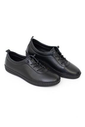 MelikaWalker Full Comfort Ve Ortopedik Bayan Siyah Günlük Rahat Lastik Bağcıklı Hava Alabilen Bayan Ayakkabı 4