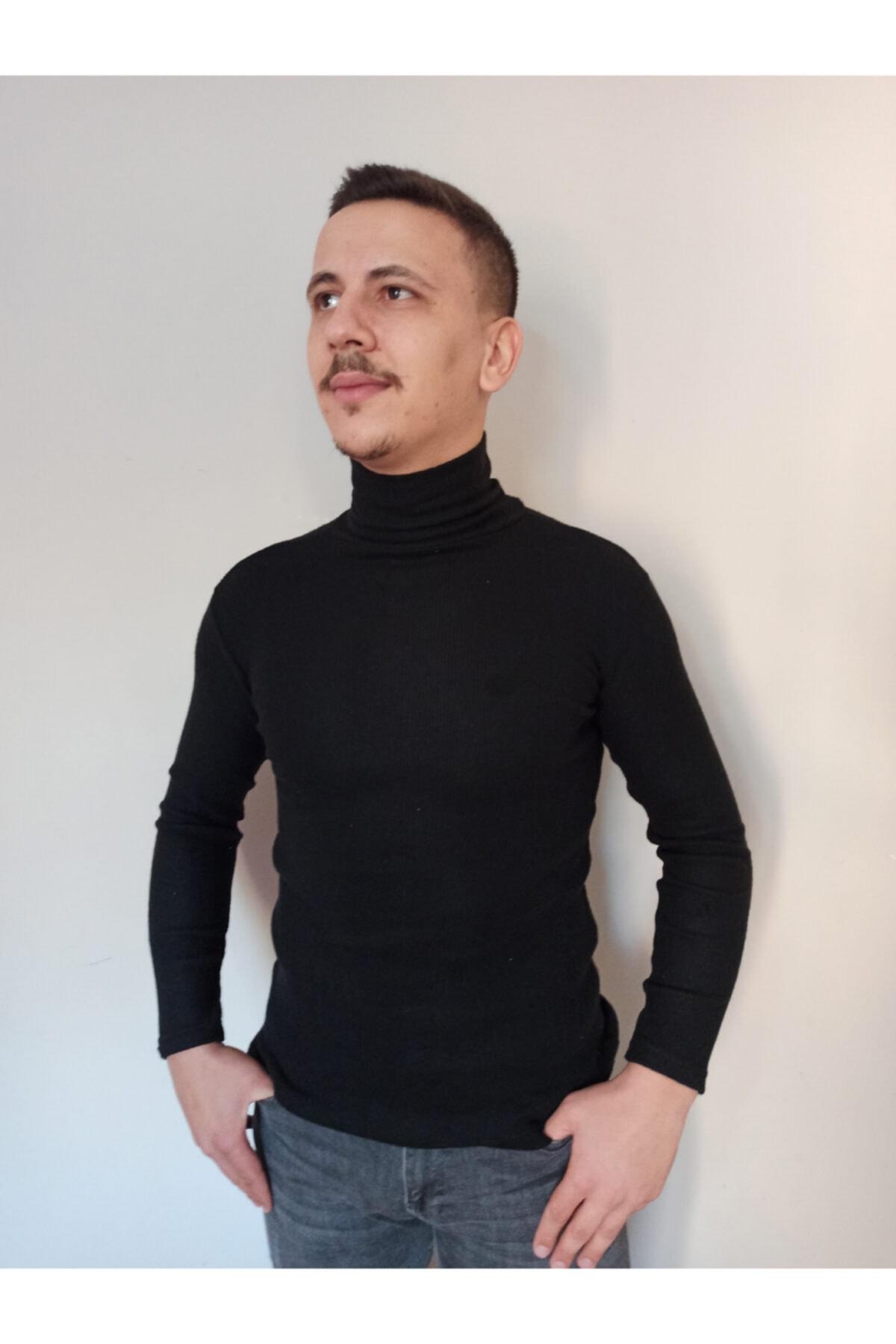 RustysStyle Erkek Siyah Balıkçı Yaka Boğazlı Kazak