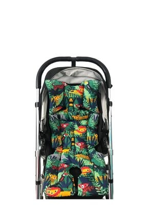 Pamuk Atölyesi Yeşil Orman Ve Siyahlı Bebek Arabası Minderi - Çift Taraflı 3