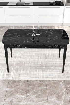 Canisa Concept Via Serisi Açılabilir Mutfak Masası Takımı-yemek Masası Takımı-siyah Masa+4 Adet Füme Sandalye 3