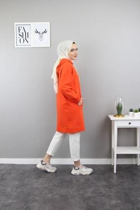 Esvet Kadın Turuncu Tesettür Yandan Cep Detaylı Kapüşonlu Sweatshirt Boydan Fermuarlı 3