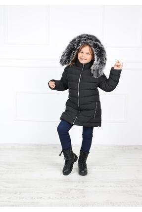 B&T Kız Çocuk Siyah Peluşlu  Kaban Mont 0