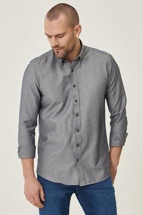 Altınyıldız Classics Erkek Koyu Lacivert Tailored Slim Fit Dar Kesim Düğmeli Yaka Gabardin Gömlek 1