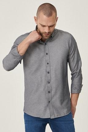 Altınyıldız Classics Erkek Koyu Lacivert Tailored Slim Fit Dar Kesim Düğmeli Yaka Gabardin Gömlek 2