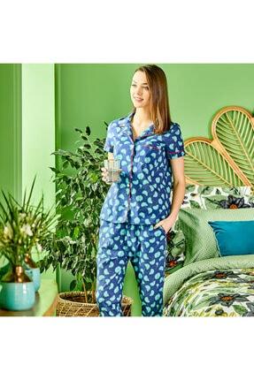 Bella Maison %100 Pamuk Palma Mavi Pijama Üstü 3