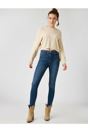 Koton Kadın Mavi Pamuklu Skinny Yüksek Bel Jeans 1