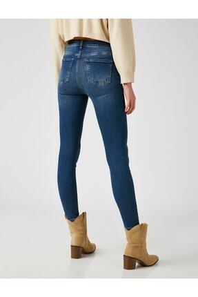 Koton Kadın Mavi Pamuklu Skinny Yüksek Bel Jeans 3