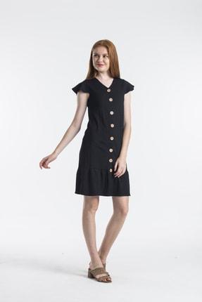Kadın Eteği Fırfırlı Krep Siyah Elbise DMSTRT19000