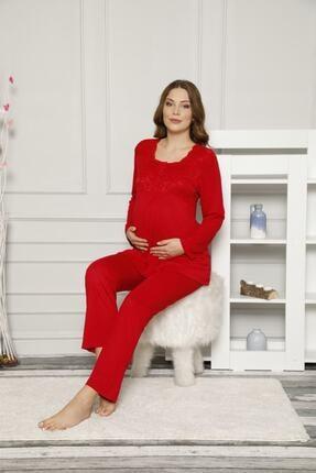 ALİMER Kadın Kırmızı Düğmeli Ve Bel Ayarlı Hamile Pijama Takımı 2487 1