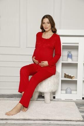 ALİMER Kadın Kırmızı Düğmeli Ve Bel Ayarlı Hamile Pijama Takımı 2487 3