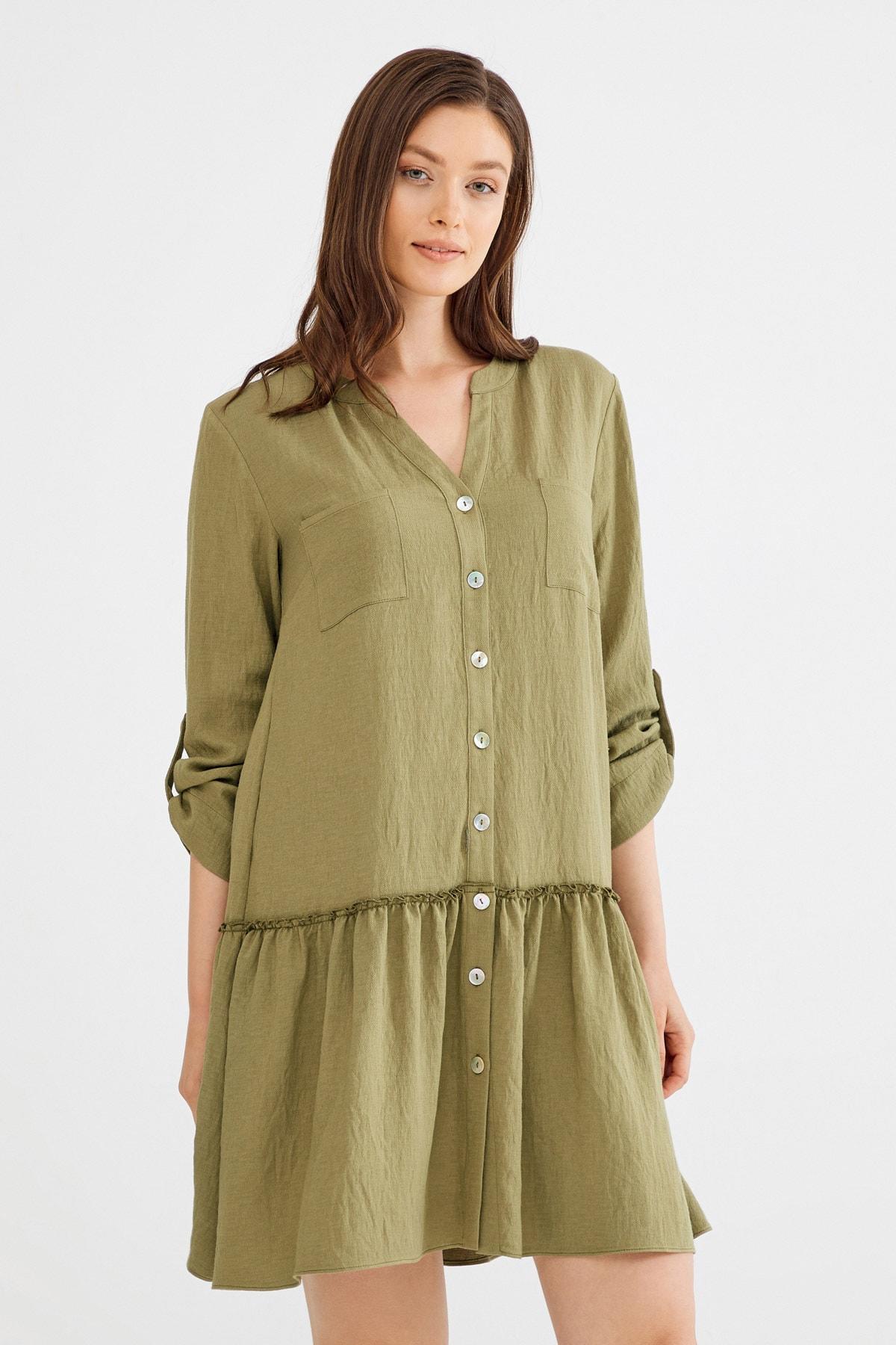 Kadın Haki Etek Ucu Büzgülü Elbise