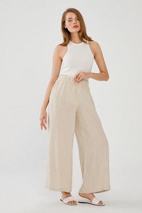 Kadın C.Bej Çizgili Keten Pantolon resmi