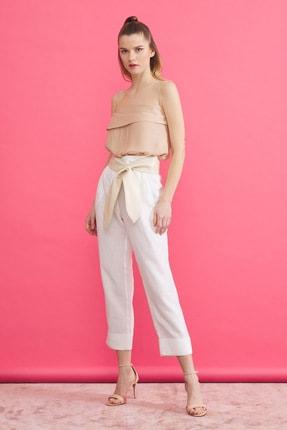 Kadın Beyaz Keten Pantolon resmi