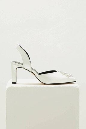 Mio Gusto Kadın Beyaz Kısa Topuklu Taşlı Abiye Ayakkabı 4