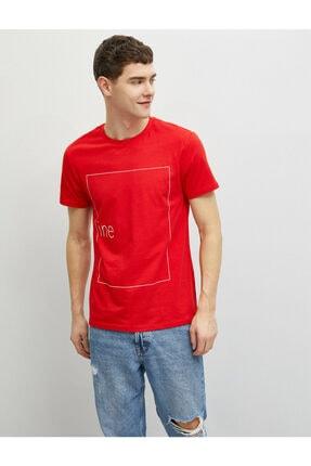 Koton Erkek Kırmızı Pamuklu Bisiklet Yaka Yazı Baskılı Kısa Kollu T-Shirt 1