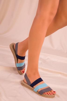 Soho Exclusive Grı-mavi-lacıvert Kadın Sandalet 15098 2