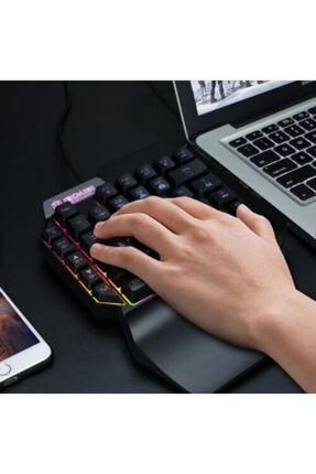 Battunique Tek El Rgb Işıklı Bilek Destekli Mini Gaming Oyuncu Klavyesi 1