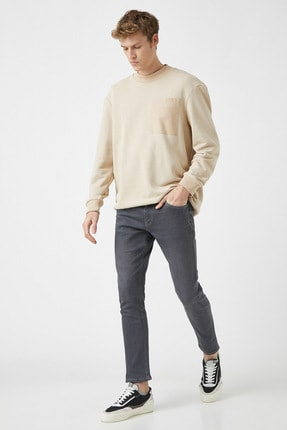 Erkek Skinny Fit Jean Pantolon - Gri 1YAM43570MD