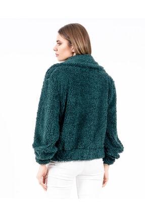 JAHR MARC Fermuarlı Yeşil Peluş Kadın Ceket 1