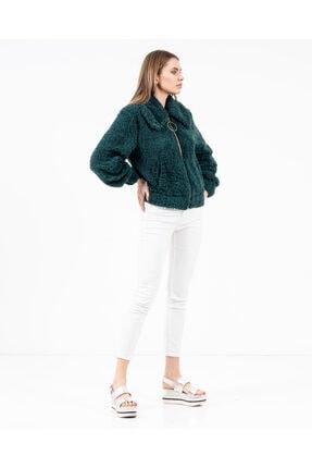 JAHR MARC Fermuarlı Yeşil Peluş Kadın Ceket 4