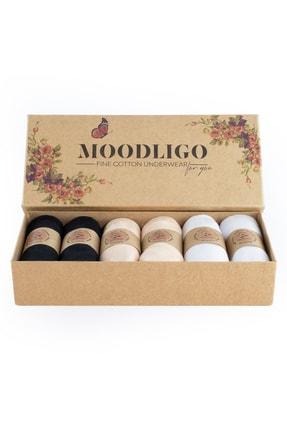Moodligo Fine Cotton Kadın Basic Slip Külot 6'lı Kutu-2 Siyah 2 Ten 2 Beyaz 0