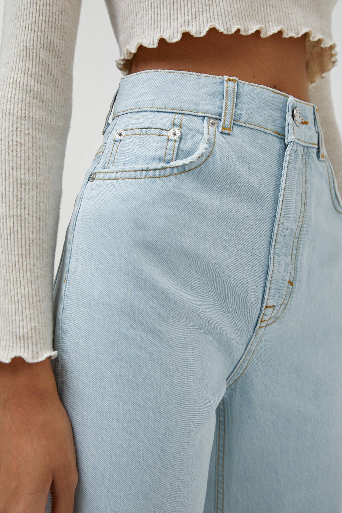 Pull & Bear Kadın Açık Mavi Yüksek Bel Straight Fit Jean 04681313 1