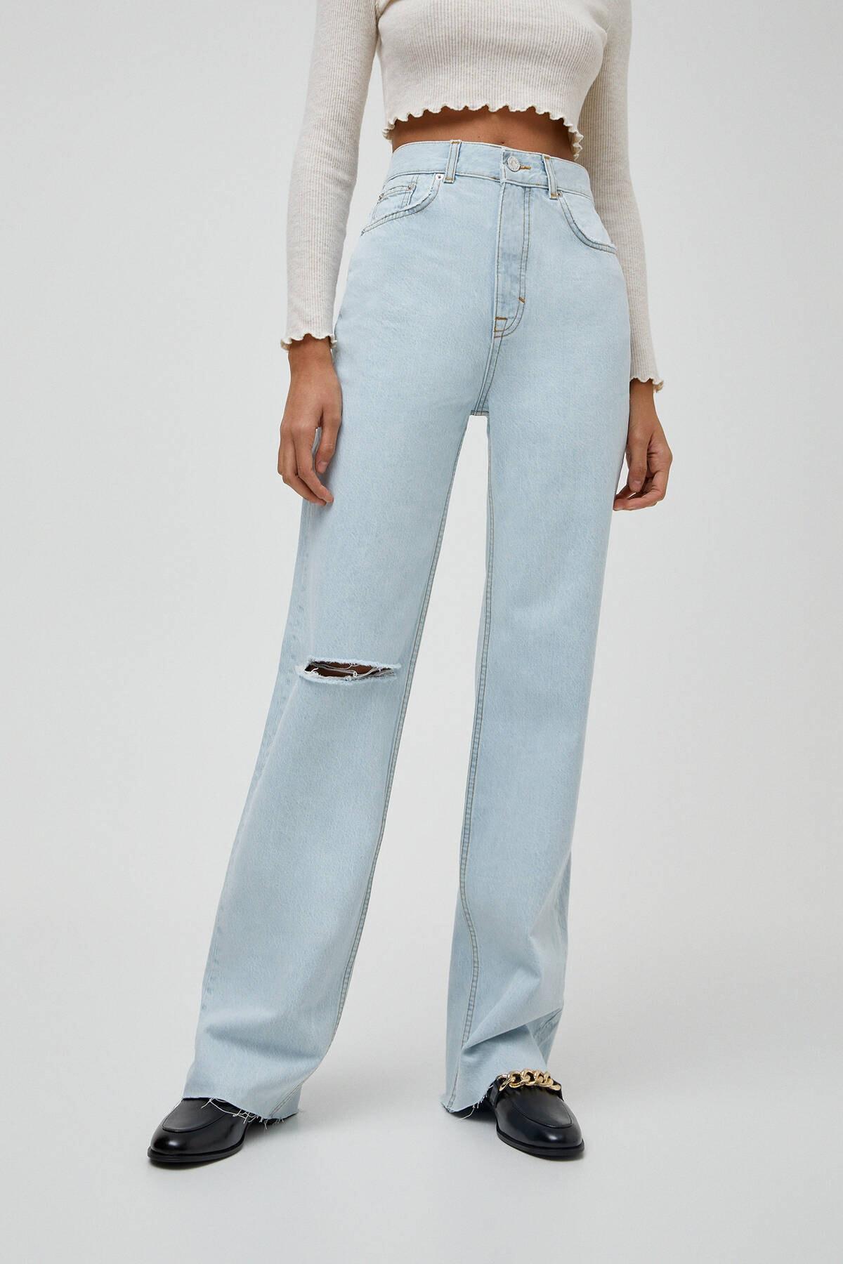 Pull & Bear Kadın Açık Mavi Yüksek Bel Straight Fit Jean 04681313 2