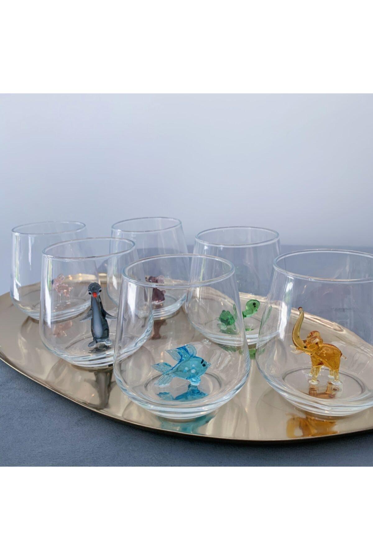 Full Renk El Yapımı Cam Hayvan Figürlü 6'lı Su Bardağı Seti