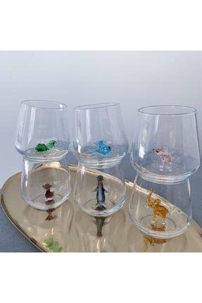 Minizooistanbul Full Renk El Yapımı Cam Hayvan Figürlü 6'lı Su Bardağı Seti 1