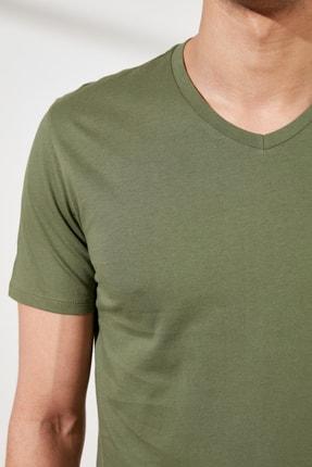 TRENDYOL MAN Haki Basic Erkek Slim Fit V Yaka Kısa Kollu T-Shirt TMNSS19BO0002 2