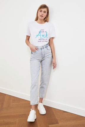TRENDYOLMİLLA Beyaz Baskılı Semifitted Örme T-Shirt TWOSS20TS0432 2